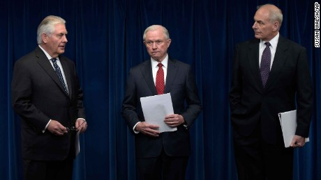 From left, Secretary of State Rex Tillerson, Attorney General Jeff Sessions and Homeland Security Secretary John Kelly arrive at a news at the U.S. Customs and Border Protection office in Washington, Monday, March 6, 2017, to make statements on issues related to visas and travel. (AP Photo/Susan Walsh)
