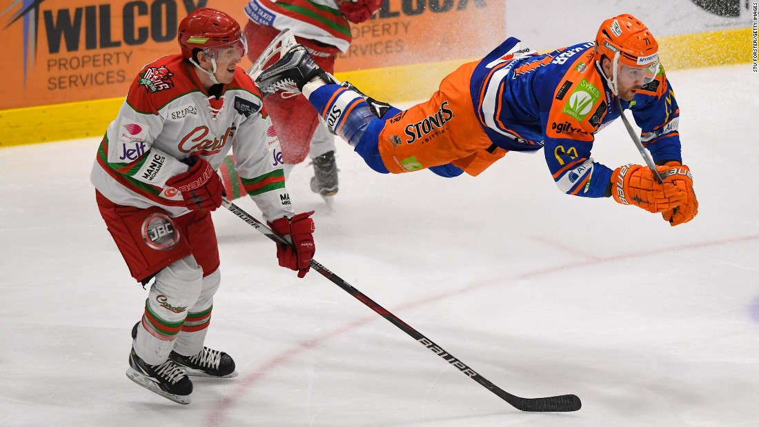 Sheffield's Geoff Walker goes airborne during the Challenge Cup final against Cardiff on Sunday, March 5. Cardiff won 3-2 on home ice. It was the second time in three seasons that the Devils won the Challenge Cup, a tournament for pro teams in the United Kingdom.