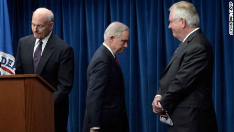 From left, Homeland Security Secretary John Kelly, Attorney General Jeff Sessions and Secretary of State Rex Tillerson, take turns speaking during a news conference at the U.S. Customs and Border Protection office, Monday, March 6, 2017, after President Donald Trump signed a revised travel ban.  (AP Photo/Susan Walsh)