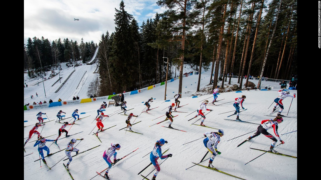 Cross-country skiers climb a hill during a World Championship race in Lahti, Finland, on Saturday, March 4.