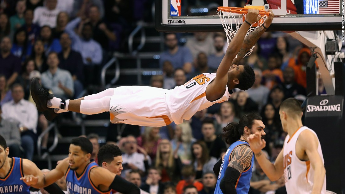 Phoenix's Marquese Chriss slams the ball during an NBA basketball game against Oklahoma City on Friday, March 3.