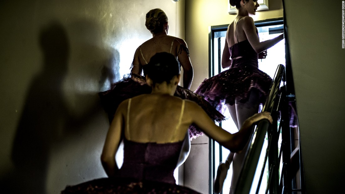 Joburg Ballet and Via Katlehong Dance Company are involved in the promotion of ballet in disadvantaged areas of South Africa.<br /><br />Pictured: Members of the ballet company rush backstage after a performance ahead of an open discussion on dance as a powerful means of change in society.