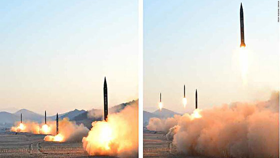 The four missiles were launched from near Tongchang Ri in North Korea's northwest, South Korea's military said.