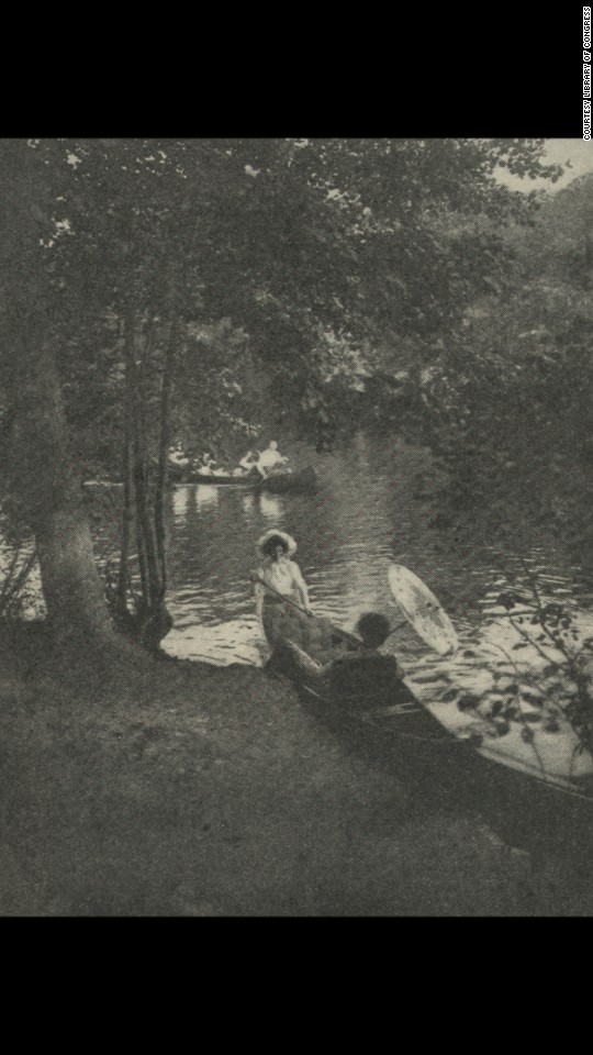 This photo illustration, of two women in a canoe, was conceived for an article in 1901.
