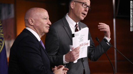 WASHINGTON, DC - MARCH 07:  House Ways and Means Chairman Kevin Brady (R-TX) (L) and House Energy and Commerce Chairman Greg Walden (R-OR) (R) answer questions during a news conference on the newly announced American Health Care Act at the U.S. Capitol March 7, 2017 in Washington, DC. House Republicans yesterday released details on their plan to replace the Affordable Care Act, or Obamacare, with a more conservative agenda that includes individual tax credits and grants for states replacing federal insurance subsidies.  (Photo by Win McNamee/Getty Images)