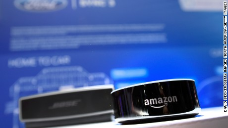LAS VEGAS, NV - JANUARY 05:  An Amazon Echo device is displayed at the Ford booth at CES 2017 at the Las Vegas Convention Center on January 5, 2017 in Las Vegas, Nevada. Ford is incorporating the voice operating device into its vehicles. CES, the world's largest annual consumer technology trade show, runs through January 8 and features 3,800 exhibitors showing off their latest products and services to more than 165,000 attendees.  (Photo by David Becker/Getty Images)