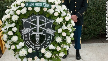 A wreath commemorates Army Special Forces.