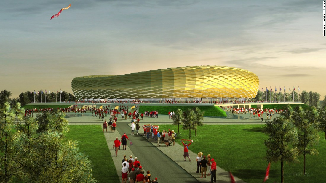 Built in the heart of Kaliningrad on Oktyabrsky Island -- a section of land sandwiched between Poland and Lithuania left largely untouched until its selection as a World Cup venue -- the stadium is loosely based on the design of Bayern Munich's Allianz Arena.