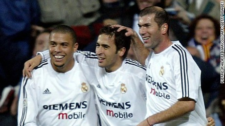 Zidane (right) and Raul (center) celebrate with Real Madrid teammate Ronaldo.