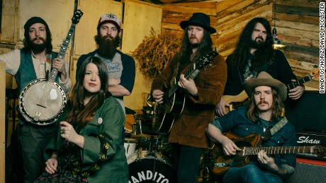 Members of the Banditos band, from left to right: Steve Pierce (banjo, vocals), Randy Wade (drums), Corey Parsons (guitar, vocals), Danny Vines (bass), Mary Beth Richardson (vocals, percussion, kazoo), Jeff Salter (guitar, vocals).