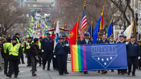 The group OutVets marched in the South Boston St. Patrick's Day parade in 2015.