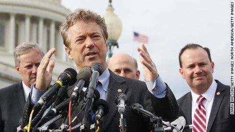 Sen. Rand Paul (R-KY) (C) speaks about Obamacare repeal and replacement while flanked by Sen. Mike Lee (R-UT) (R), and  Rep. Mark Meadows (R-NC) (L) during a news conference on Capitol Hill, on March 7, 2017 in Washington, DC.