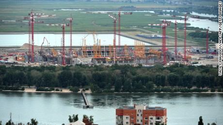 Cranes are seen at the construction site of the new football stadium in Rostov-on-Don on July 14, 2015.