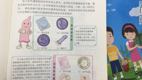 The textbooks also deal with safe-sex and condom usage.