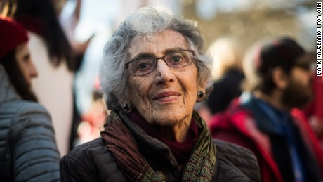 "Pearl Zeitz, 94, rallies at Washington Square Park in New York. ""Its the kind of thing I've spent my life doing -- protesting, supporting actions like this and letting the world know when people are doing the world harm,"" said Zeitz, a retired teacher. ""I never let an opportunity go to be heard."""