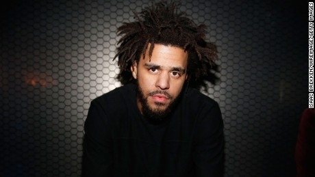 J. Cole is pictured following a 2015 performance in Las Vegas.