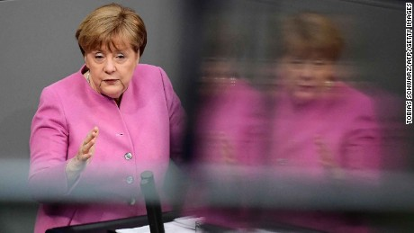 German Chancellor Angela Merkel speaks in the German lower house of parliament Thursday.
