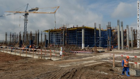 A general view shows the construction site of the new football stadium in Samara on July 16, 2015. The venue will host matches during the 2018 FIFA World Cup. AFP PHOTO / VASILY MAXIMOV        (Photo credit should read VASILY MAXIMOV/AFP/Getty Images)