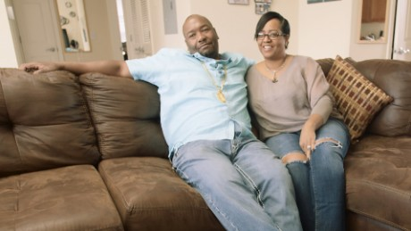 Derrick and Nicole Hamilton in their home in New Jersey