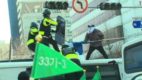 Protester and police clash in South Korea