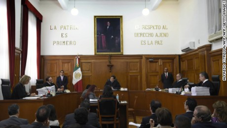 Mexico's Supreme Court during the discussion to legalize marijuana for recreational use in Mexico City on November 4, 2015. Mexico's Supreme Court opened the door to the recreational use of marijuana on Wednesday, giving a group of activists permission to grow and smoke their own pot in a historic ruling. AFP PHOTO / ALFREDO ESTRELLA        (Photo credit should read ALFREDO ESTRELLA/AFP/Getty Images)