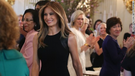 First lady Melania Trump arrives at a luncheon she was hosting to mark International Women's Day in the State Dining Room at the White House March 8, 2017 in Washington, DC.  (Photo by Mark Wilson/Getty Images)