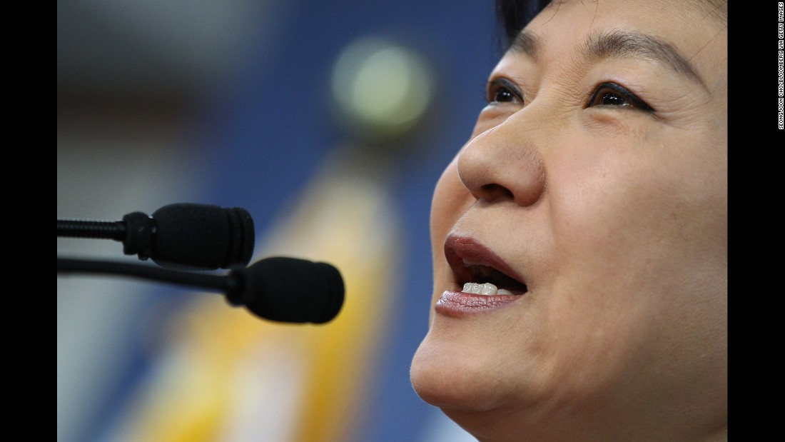 Park speaks to the media in December 2012 after becoming president-elect.