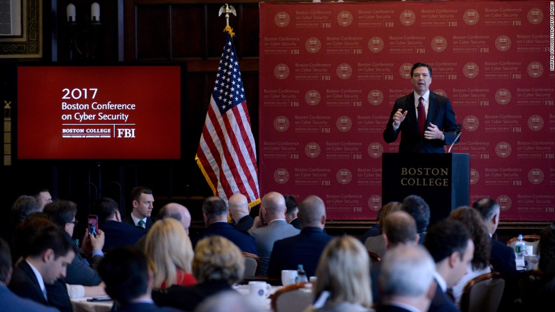 "FBI Director James Comey speaks at a cybersecurity conference in Boston on Wednesday, March 8. Comey warned that Americans <a href=""http://www.cnn.com/2017/03/08/politics/james-comey-privacy-cybersecurity"" target=""_blank"">should not have expectations of ""absolute privacy.""</a> But he added that Americans ""have a reasonable expectation of privacy in our homes, in our cars, in our devices. It is a vital part of being an American. The government cannot invade our privacy without good reason, reviewable in court."""
