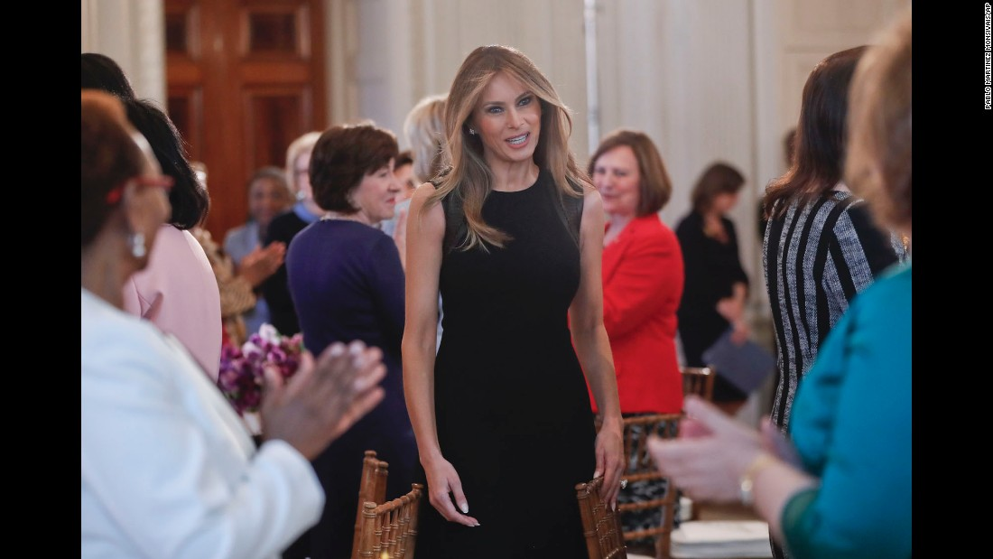 "Melania Trump, the first lady of the United States, hosts a White House luncheon for <a href=""http://www.cnn.com/2017/03/08/world/gallery/international-womens-day-marches-2017/index.html"" target=""_blank"">International Women's Day</a> on Wednesday, March 8."