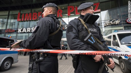 Police guard a shopping mall Saturday in Essen, Germany, amid a terror threat.