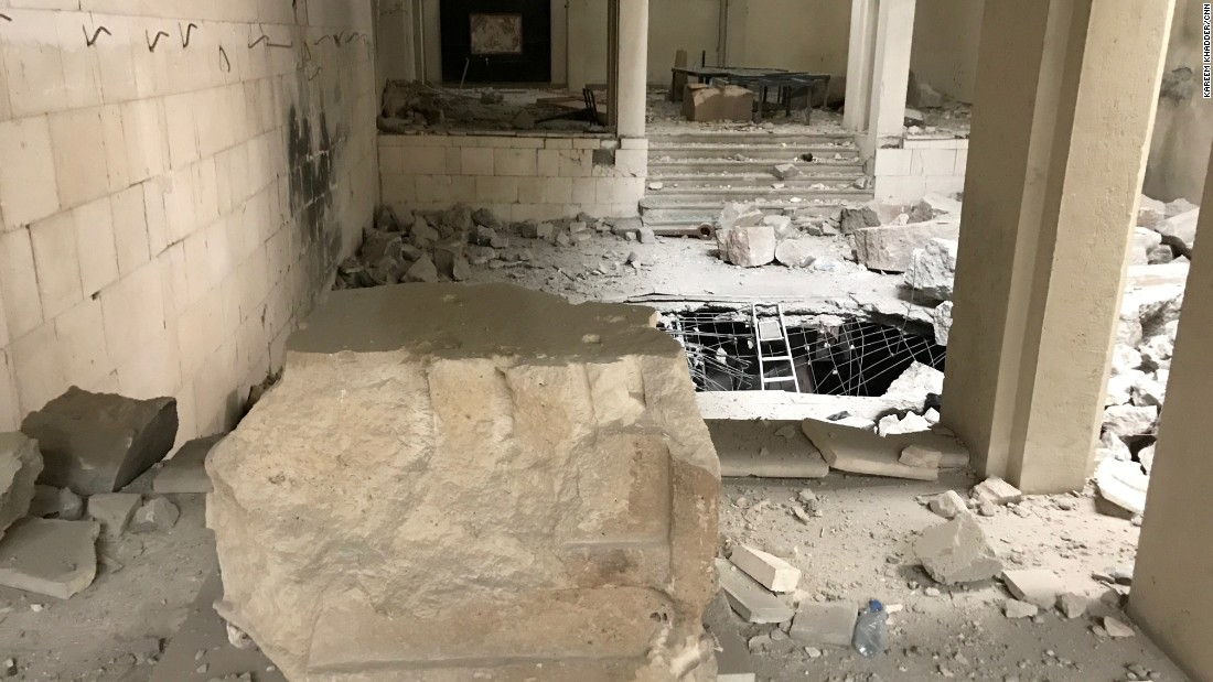 An empty stone pedestal in the middle of the Mosul museum. ISIS made a video of artifacts being destroyed with sledgehammers and jackhammers.