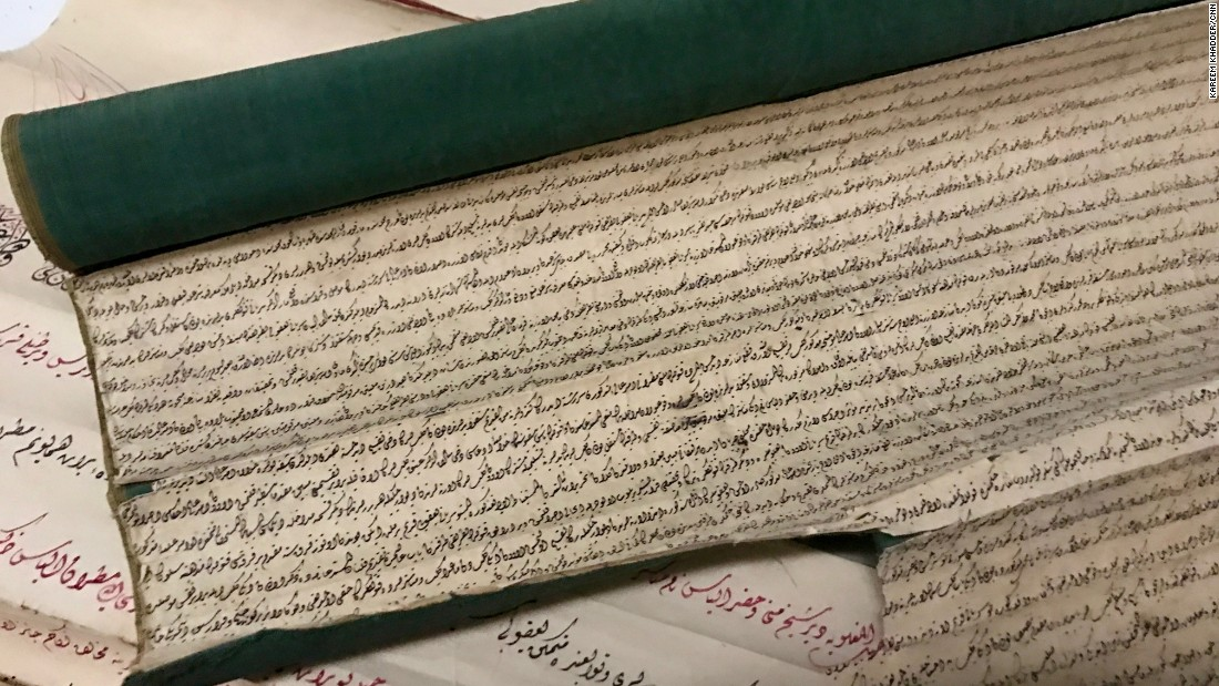 Old manuscripts found inside the Mosul museum. Many of the old books and manuscripts of the museum were burned by ISIS.