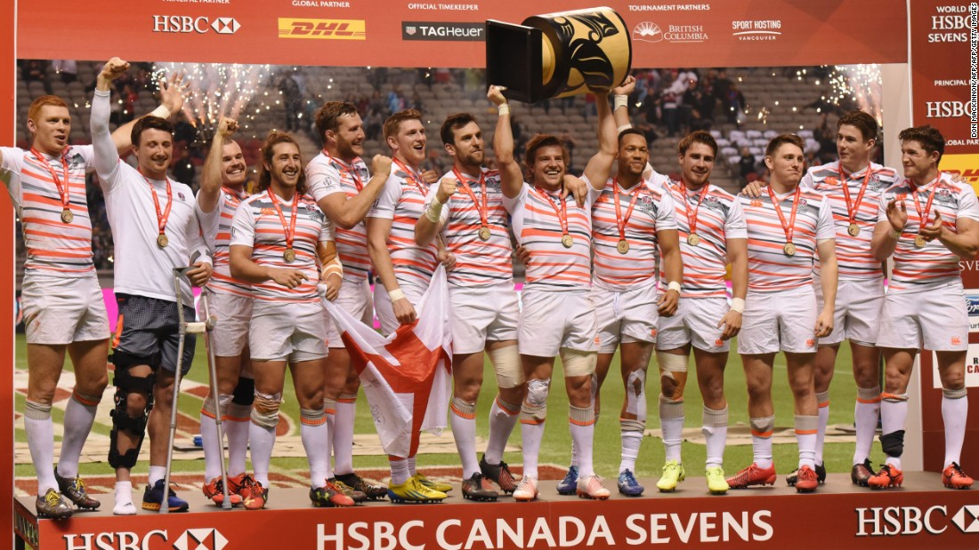 England climbed to second in the rugby sevens world series with victory over South Africa in Vancouver.