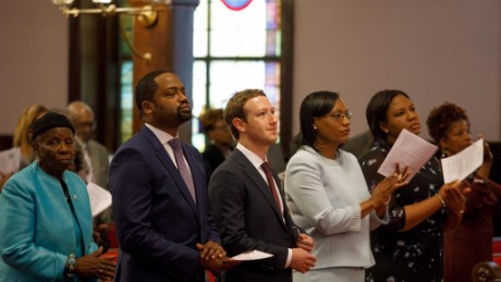 Mark Zuckerberg attends a service at the Mother Emanuel AME Church in Charleston, South Carolina.
