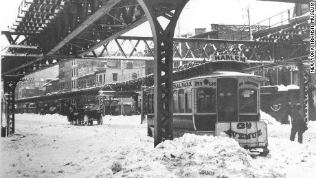 A railway cable car in New York during the Great Blizzard of 1888.