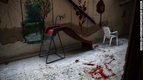 The blood stained floor of a kindergarten following reported shelling in Harasta, on the northeastern outskirts of the capital Damascus, on November 6, 2016.