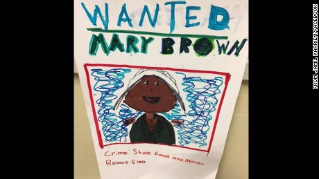 "A ""wanted"" poster on display at South Mountain Elementary School."