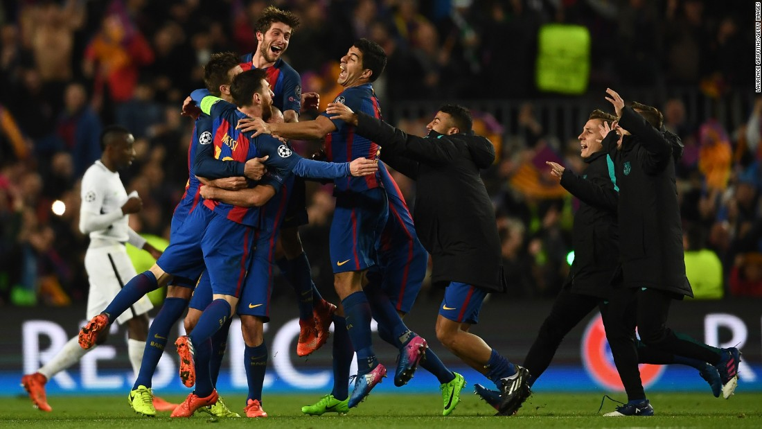 "Barcelona players celebrate after pulling off the greatest comeback in Champions League history on Wednesday, March 8. Few gave the Spanish club hope of advancing past Paris Saint-Germain after it lost the first leg 4-0 in France. But two stoppage-time goals <a href=""http://www.cnn.com/2017/03/08/football/barcelona-paris-saint-germain-champions-league/"" target=""_blank"">capped off a 6-1 victory</a> in the second leg, clinching Barca's spot in the quarterfinals.<br />"