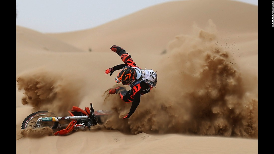 Mohammed Anis crashes in the sand Saturday, March 11, during the Dubai International Baja.