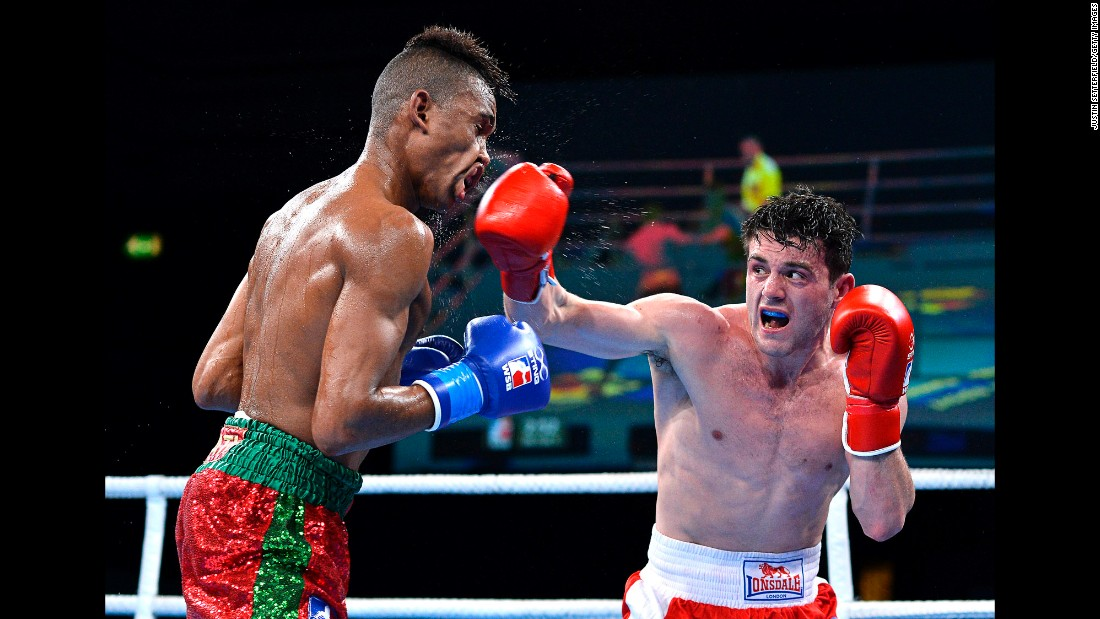 Conor Loftus punches Youness Baati during a World Series of Boxing event in London on Wednesday, March 8. Loftus and the British Lionhearts won all five of their bouts against the Morocco Atlas Lions.