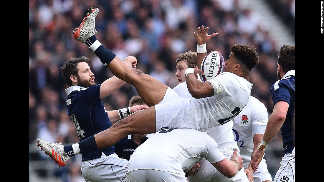 "England's Anthony Watson catches the ball during a Six Nations match in London on Saturday, March 11. England smashed Scotland 61-21<a href=""http://www.cnn.com/2017/03/11/sport/six-nations-england-scotland-new-zealand-world-record/index.html"" target=""_blank""> to retain its Six Nations title.</a>"