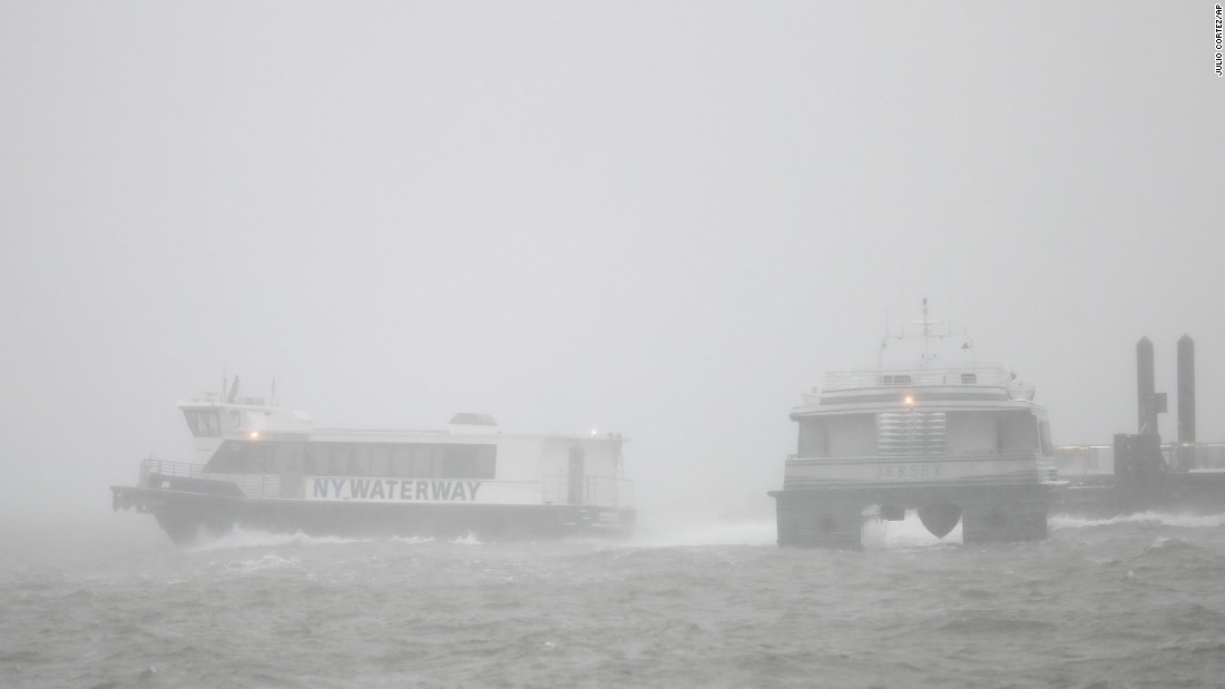 Ferries depart the Newport Terminal in Jersey City, New Jersey, on March 14.