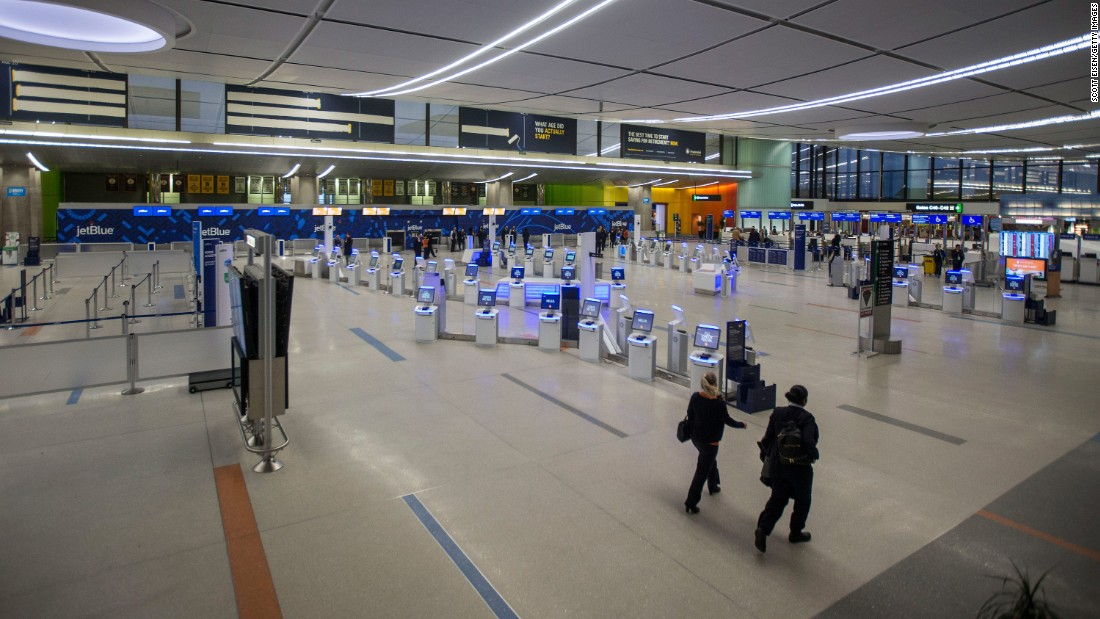 Terminal C at Logan International Airport was nearly empty as the snowstorm began to enter the Boston area on March 14.