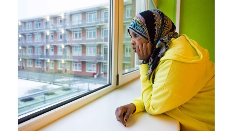 "Bushra Hussein says she is now at peace with life in the Netherlands. ""It's my second home... I've lived here almost 8 years. I've come across a lot of problems without documents, but still I can call it home, because the place I'm living is safe."""