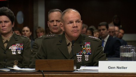 General emotionally defends female Marines
