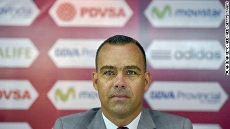The new coach of the Venezuelan national football team, Rafael Dudamel, offers a press conference in Caracas on April 8, 2016. Former goalkeeper Rafael Dudamel was named on April 1 as the new coach of Venezuela to replace Noel Sanvicente. He takes charge with the Vinotinto bottom of South American World Cup qualifying after picking up just one point from their first six games. / AFP / JUAN BARRETO        (Photo credit should read JUAN BARRETO/AFP/Getty Images)