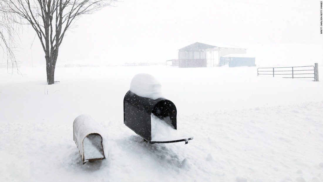 Snow rises up to mailboxes outside Union Dale, Pennsylvania, on March 14.