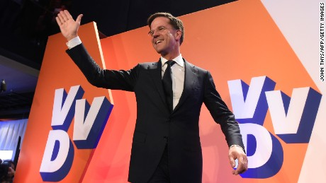 Netherlands' prime minister and VVD party leader Mark Rutte celebrates after winning the general elections in The Hague on March 15, 2017.  The Liberal party of Dutch Prime Minister Mark Rutte was set to win the most seats in Wednesday's elections, forcing far-right Geert Wilders into second place along with two other parties,  the Christian Democratic Appeal and the Democracy party D66, exit polls predicted. / AFP PHOTO / JOHN THYS        (Photo credit should read JOHN THYS/AFP/Getty Images)