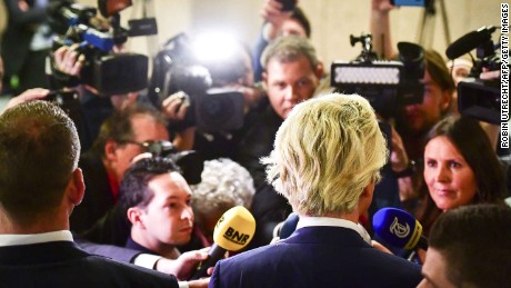 PVV leader Geert Wilders speaks to the press during election night in the Hague, on March 15, 2017. 