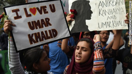 Students protest in support of Umar Khalid and Kanhaiya Kumar after their arrest.